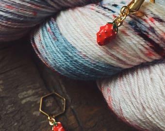 Mini Strawberry Knitting Stitch Marker / Progress Keeper