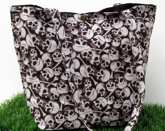 Brown Skull and Crossbones Cotton Tote