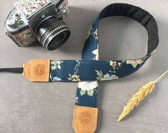 DSLR camera strap,Navy Blue flower Camera Strap, leather camera Strap Gift for her