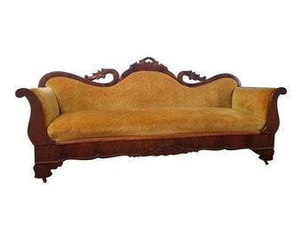 Antique Victorian Mahogany Gold Velvet Sofa   Stunning Vintage Yellow  Velvet Carved Wood Couch