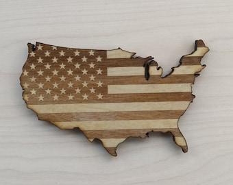 Wooden Fridge Magnet, American Flag Magnet, Wooden Magnets, American Magnets, USA Refrigerator Magnets, USA Magnets, USA fridge Magnets