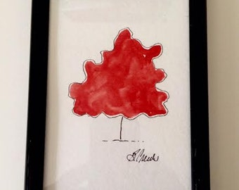 Red Single Tree Framed  in Black 6x4 Inch Acrylic Painting by BeckyPaints PaintATreeADay ART