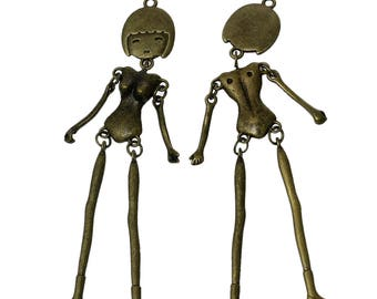 character doll articulated pendant bronze