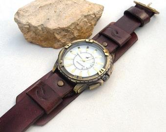 Mens Leather wrist watch, Army Military Style Round Dial Quartz Wrist Watch, Men leather cuff watch