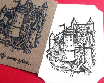 Castle Rubber Stamp - Handmade rubber stamp