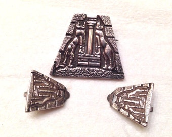 Vintage ZOLOTAS Sterling Silver Lion Gate Mycenae Greece Figural Pin & Earring Set