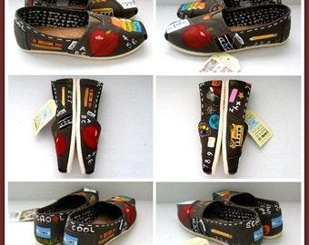 Teacher Shoes Painted TOMS Gift for Teacher Teacher Appreciation Personalized Teacher Gift New Teacher Gift Teaching Gifts