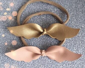 Leather baby wings headband