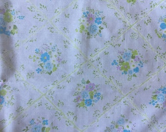 Vintage Twin sheet  Monticello Cannon Green, Blue and Purple Floral