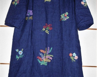 Blue linen dress. Hand embroidery. Flowers. Colorful embroidery. Unique dress.