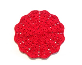 Red Crocheted Round Shell Stitch Dish Cloth
