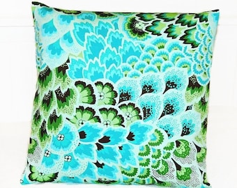 turquoise blue green decorative pillow cover, cushion cover leaves flowers 16 inch