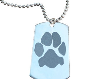 Paw Print Necklace | Your Custom Paw | Personalized with Your Pet's Paw Print and Name | Best Cat Dog Pet Lover Gift | Mother's Day