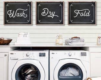 Laundry Room Decor. Laundry Room Sign - Laundry Room Decorations - Laundry Room Wall Art - Laundry Room Prints - Wash Dry Fold - NS-883