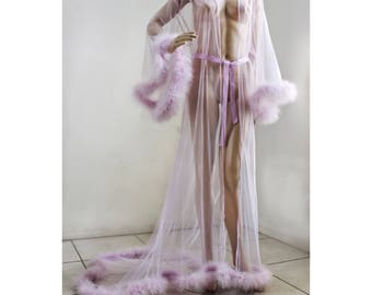 Giselle Lavender Sheer Robe with fur trim, satin ribbon ties. High quality lingerie