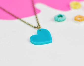 Teal Heart Necklace for Valentines Day   Valentines Gifts For Her   Turquoise Jewellery for Sensitive Skin