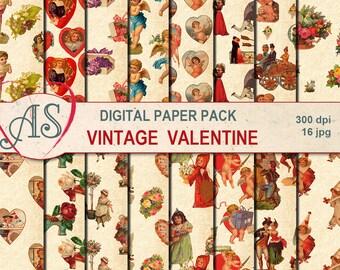 Digital Vintage Valentine's Day Paper Pack, 16 printable Digital Scrapbooking papers, Digital Collage, Instant Download, set 263