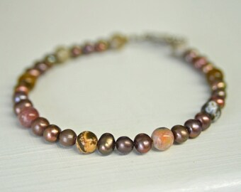 """Freshwater Pearl and Ocean Jasper 8"""" Bracelet, Pewter Toggle Clasp"""