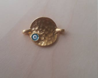 Gold plated hammered circle connector with turquoise enamel evil eye