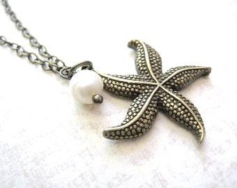 Starfish Necklace, Starfish Jewelry, Starfish Pendant with Peral, Beach Jewelry