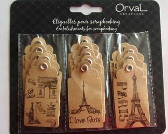 set of 15 tags SCRAPBOOKING - PARIS EIFFEL Tower pattern
