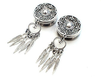 """Silver ScrewBack Surgical Steel Tunnels Dreamcatcher Ear Tunnels - Pair - 22mm (7/8"""") 24mm (15/16"""") 25mm 26mm 28mm (1-1/8"""") 30mm (1-3/16"""")"""