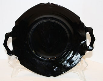 L. E. Smith Two Handled Black Glass Serving Dish