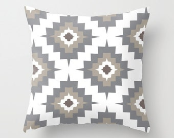 Southwestern pillow with insert Cover - Gray Taupe White -  Modern Aztec Throw pillow with insert - Home Decor - By Aldari Home