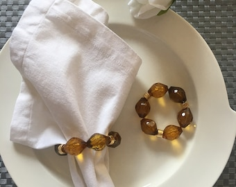 Napkin or Napking rings with brown stones set of 4