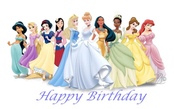 Princess Birthday Card Disney Princess Instant Download