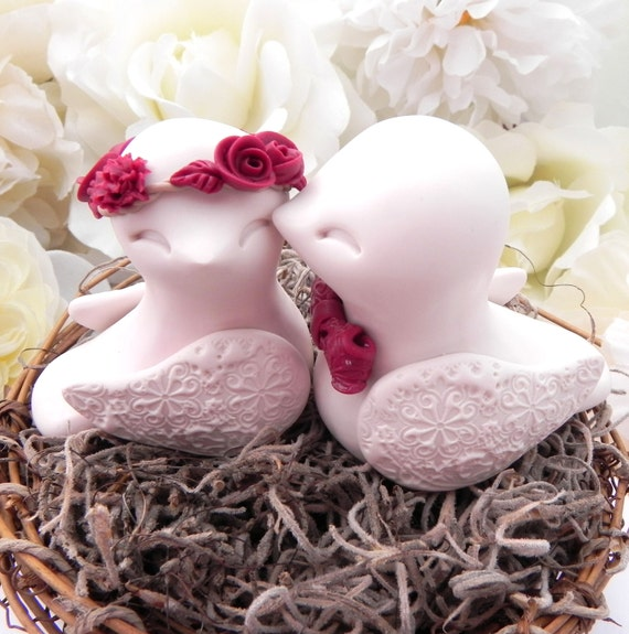 Rustic Love Bird Wedding Cake Topper - Burgundy and Ivory, Love Birds in Nest - Personalized Heart