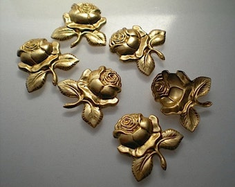 6 brass rose charms