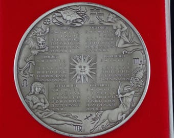 Heavy Sterling Silver 1975 Calendar Medallion - 296g!!!