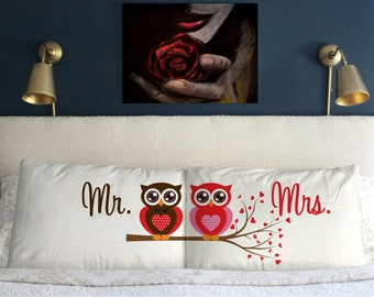 Mr Mrs OWL  Pillow Case Valentine's day  Wedding Perfect Gift Couple