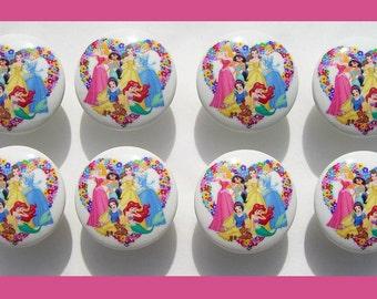8 set Princess Flower Hearts Dresser Drawer Knobs kids girls
