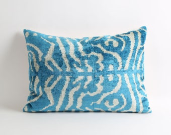 Blue ikat velvet pillow cover, velvet pillow, ikat pillow, handwoven ikat pillow, blue pillow cover
