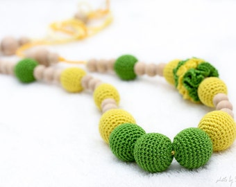 Fresh Spring Teething Necklace/Nursing mom necklace - neon green and yellow - crochet sling necklace, mom accessory, mom and dother