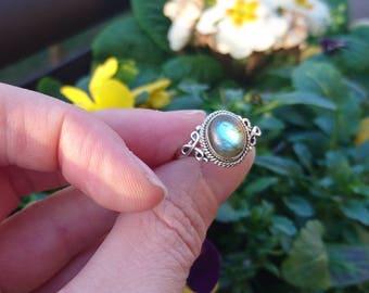Mounted on silver Labradorite ring.