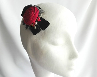 Red rose hair accessory, Red rose hair clip, Red and black hair flower, Red and black hair accessory