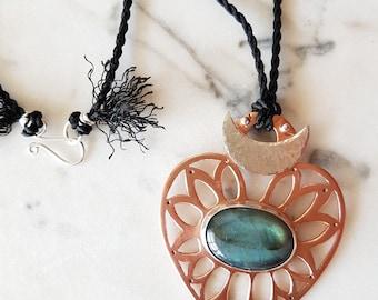 Labradorite Talisman ~ Malocchio Evil Eye Sacred Heart Silk Copper Silver Moon Protection OOAK