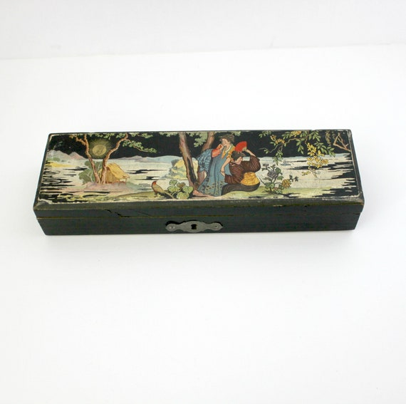 Antique Japanese Pencil Box, Wood Litho Scenic Lid Pencil Storage