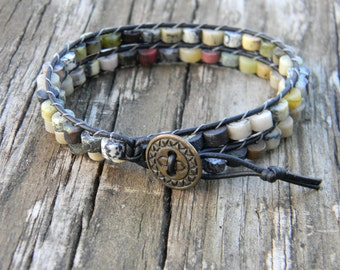 Leather and Stone Wrap Bracelet
