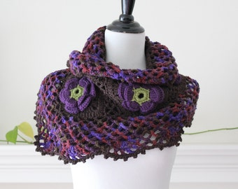 Crocheted Purple and Brown Scarf, Shawl, Capelet