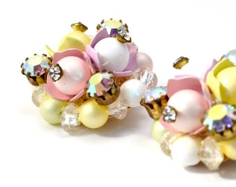 Vintage pastel bead and AB rhinestone cluster clip on earrings