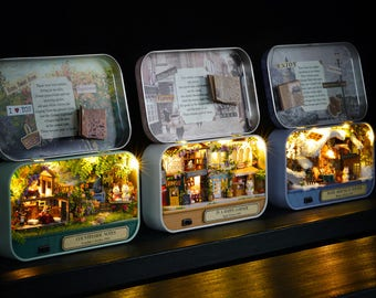 UK stock! DIY Box Theatre with Light Countryside/High street/Cosy winter cottage/DIY Handcraft Miniature Project*Dollhouse Kit