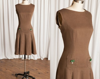 Lizzie dress | vintage 60s dress | 1960s brown shift dress | vintage 60s skater dress | brown cotton 1960s minidress | Stacy Ames