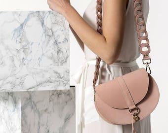 Shoulder Leather bag, Nude small handbag, Women cross-body leather bag, Small leather nude purse, Clio design Medium, NEW
