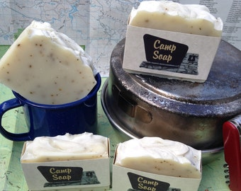 Camp Soap Handmade Bar with Aloe Vera, Shea Butter, and Rice Bran Oil
