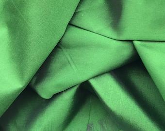 SALE 50% Green Silk Taffeta Fabric, Dress Costume Apparel Fabric, Indian Silk, Fabric By Yard, Wedding Silk Fabric, clothing fabric. TG01