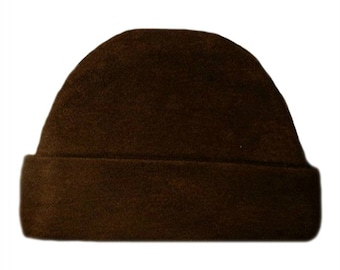 Brown Capped Baby Hat. 100% Cotton Knit. Double Thick with a Built in Cap to Stay on Baby's Head. 5 Preemie, Newborn Sizes up to 6 Months